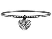 Cubic Zirconia Black Rhodium Plated Sterling Silver Bangle w/Heart Charm