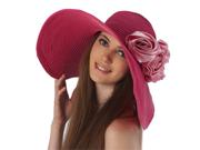 Luxury Lane Women's Rose Pink Floppy Sun Hat with Pink Flower Appliques