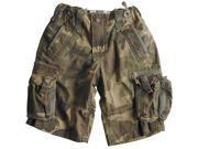 Alpha Industries Boys Termo Camo Cotton Cargo Shorts - Green Y5