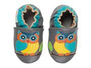 Momo Baby Infant Toddler Soft Sole Leather Shoes Wise Owl Gray