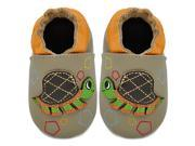 Kimi Kai Kids Soft Sole Leather Crib Bootie Shoes Turtle