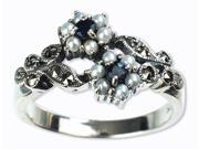 Gemini Silver Natural Seed Pearl Ring, Sapphire (Size 6)