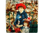 "100% Satin Charmeuse Pierre-Auguste Renoir's ""On the Terrace"" Square Scarf Shawl"