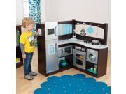 KidKraft Grand Gourmet Uptown Espresso Wood Play Kitchen & Metal Cookware
