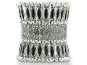 Triple Row Superwide Silver Tone Filigree and Black Stone Stretch Cuff Bracelet, Fits Wrist Sizes 6.5 to 8