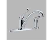 Delta 400-BH-DST Chrome Single Handle Kitchen Faucet with Spray