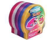 Maxell 190073 20 Count Assorted Colors CD and DVD Storage Cases