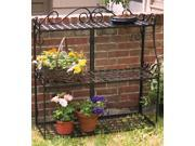 Panacea Forged Three Tier Plant Stand Black 41.5 Inches Tall