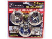 Trimax TRP3170 Shielded Disc Locks Pack Of 3Keyed Alike