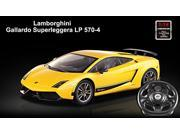 Licensed 1/14th Scale Lamborghini Gallardo Superleggera LP570-4 Ready to Run Die Cast Radio Control Car with Simulated Steering Wheel