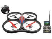 WLtoys V666 5.8G FPV 6 Axis 2.4G RC Quadcopter Drone with HD Camera Monitor RTF Red w/4GB Memory Card