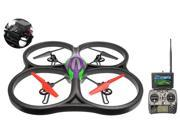 WLtoys V666 5.8G FPV 6 Axis 2.4G RC Quadcopter Drone with HD Camera Monitor RTF Green w/4GB Memory Card