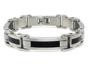Tioneer B30283B Ladiatior Stainless Steel Black Cable and Carbon Fiber Inlay Bracelet