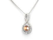 Sterling Silver Figure 8 Infinity Pendant (Center 1.50ctw Pearl)