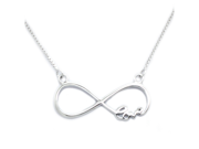 "Tioneer Sterling Silver Infinity Love Pendant with Adjustable 16"" - 17"" Fine Chain"