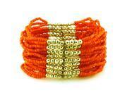 Tioneer Multi-strand Orange Layering Exotic Stretchable Bracelet
