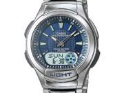 Casio Men's AQ180WD-2AV Silver Stainless-Steel Analog Quartz Watch with Blue Dial