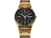 Swatch Irony Black Dial Gold-tone Stainless Steel Bracelet Unisex Watch YGG705G