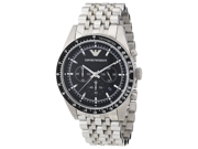 Emporio Armani Men's AR5988 Silver Stainless-Steel Quartz Watch with Black Dial