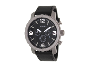 Fossil Men's Nate TI1005 Black Leather Quartz Watch with Black Dial
