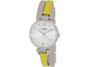 Fossil Women's Georgia ES3223 Yellow Leather Quartz Watch with Silver Dial