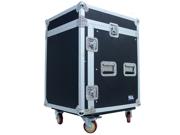 Seismic Audio - SAMRC-12U - 12 Space Rack Case with Slant Mixer Top and Casters - PA/DJ Pro Audio Road Case