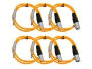 Seismic Audio - 6 Pack of Orange 3 foot XLR Male to TRS Male Patch Cables - Snake Microphone Cord