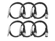 Seismic Audio - 6 Pack of Black 3 foot XLR Male to TRS Male Patch Cables - Snake Microphone Cord