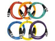 Seismic Audio - 6 Pack of 6' XLR male to XLR female Patch Cable