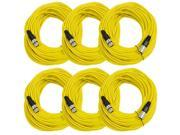 Seismic Audio - 6 Pack of Yellow 100' XLR male to XLR female Microphone Cables