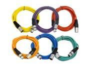 Seismic Audio - 6 Pack of 10' XLR male to XLR female Patch Cable