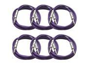 Seismic Audio - 6 Pack of Purple 10 foot TRS to TRS Patch Cables - Snake Microphone Cord