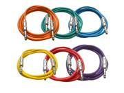 Seismic Audio - 6 Pack of Colored 6 foot TRS to TRS Patch Cables - Snake Microphone Cord