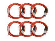 Seismic Audio - 6 Pack of Red 6 foot XLR Male to TRS Male Patch Cables - Snake Microphone Cord