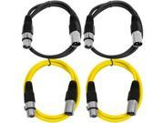 SEISMIC AUDIO - SAXLX-2 - 4 Pack of 2' XLR Male to XLR Female Patch Cables - Balanced - 2 Foot Patch Cord - Black and Yellow