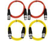 SEISMIC AUDIO - SAXLX-2 - 4 Pack of 2' XLR Male to XLR Female Patch Cables - Balanced - 2 Foot Patch Cord - Red and Yellow