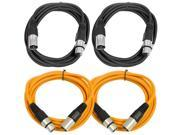 SEISMIC AUDIO - SAXLX-6 - 4 Pack of 6' XLR Male to XLR Female Patch Cables - Balanced - 6 Foot Patch Cord - Black and Orange