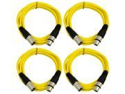 SEISMIC AUDIO - SAXLX-6 - 4 Pack of 6' XLR Male to XLR Female Patch Cables - Balanced - 6 Foot Patch Cord - Yellow and Yellow
