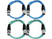 SEISMIC AUDIO - SAXLX-3 - 4 Pack of 3' XLR Male to XLR Female Patch Cables - Balanced - 3 Foot Patch Cord - Blue and Green