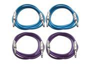 "SEISMIC AUDIO - SATRX-6 - 4 Pack of 6' 1/4"" TRS to 1/4"" TRS Patch Cables - Balanced - 6 Foot Patch Cord - Blue and Purple"