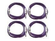 "SEISMIC AUDIO - SATRX-6 - 4 Pack of 6' 1/4"" TRS to 1/4"" TRS Patch Cables - Balanced - 6 Foot Patch Cord - Purple and Purple"