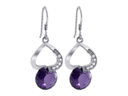 LHES011 .925 Silver Dangling Upside Down Heart with 10mm Amethyst CZ Earrings