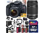 Canon EOS Rebel T5 1200D 18-55 + 55-250 Lens SLR Digital Camera (Exclusive Kit) 9126B003 (64GB SD Card + SD Reader + Hard Case + 2X Battery + Charger + Pro Trip