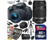 Canon Rebel T5i w/ 18-55 + 55-250 Lens DSLR Digital Camera (Best Value Bundle) 8595B003 (16GB SD Card + SD Reader + Soft Case + Battery + Charger + Cleaning Kit + Pro Tripod + Filter Kit + More)