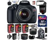 Canon Rebel T5 1200D 18-55mm DSLR SLR Digital Camera (Advanced Bundle) 9126B003 (64GB SD Card + Reader + SLR Backpack + 3X Battery + Charger + Bower Flash + Pro