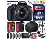 Canon Rebel T5 1200D DSLR SLR Digital Camera (Best Value Bundle) 9126B003 (16GB SD Card + SD Reader + Soft Case + Battery + Charger + Cleaning Kit + Pro Tripod
