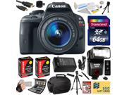 Canon Rebel SL1 100D w/ 18-55mm DSLR SLR Digital Camera (Professional Bundle Kit) 8575B003 (64GB SD Card + SD Reader + Soft Case + 2X Battery + Charger + Bower