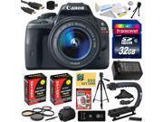 Canon Rebel SL1 100D with 18-55mm DSLR SLR Digital Camera (Must Have Bundle Kit) 8575B003 (32GB + SD Reader + 2X Battery + Charger + Hand Grip + Shutter Remote