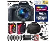 Canon Rebel SL1 100D with 18-55mm DSLR SLR Digital Camera (Best Value Bundle Kit) 8575B003 (16GB SD Card + SD Reader + Soft Case + Battery + Charger + Cleaning Kit + Pro Tripod + Filter Kit + More)