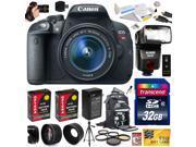Canon Rebel T5i with 18-55mm DSLR SLR Digital Camera (Ultimate Bundle Kit) 8595B003 (32GB + SD Reader + Bower Flash + 2X Battery + Charger + Hand Grip + SLR Bac